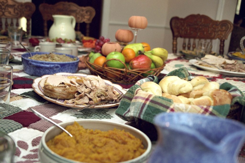 A picture of a typical Thanksgiving meal.
